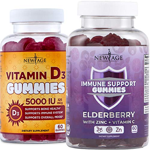 Ultimate Immune Support Gummies - 2 Pack - Sambucus Black Elderberry Extract with Vitamin C and Zinc Gummies 60 Count & Vitamin D3 5000 IU Gummies - 120 Count by New Age