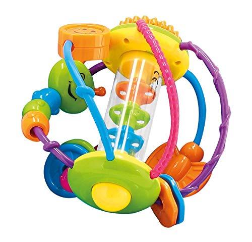 Bieco Motorikball für Babys ab 6 Monate | Greifball und Beißring mit Rassel | Motorikspielzeug | Greifling | Sensorik Bälle Baby | Greifball für Babys | Babyrassel