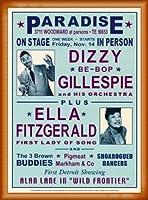 ポスター デニース ローレン Dizzy Gillespie and Ella Fitzgerald at Paradise 1947 額装品 ウッドベーシックフレーム(オレンジ)