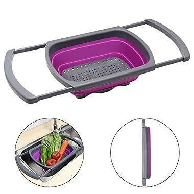 QiMH Colander collapsible, Colander Strainer Over The Sink Vegtable/Fruit Colanders Strainers Extendable Handles, Folding Strainer Kitchen,6 Quart(Purple)