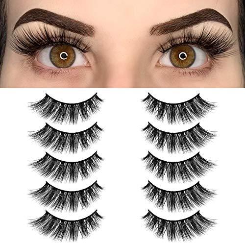 BEPHOLAN Fake Eyelashes, Cat-eye Lashes, 5 Pairs False Eyelashes Synthetic Fiber Material, Natural Flare Look, Handmade,Easy to Apply, 3D Faux Mink Lashes, XMZ116
