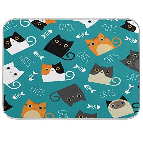 LUCKYEAH Katter som visar fiskben bokstav disk torkmatta absorberande snabbtorkande underlägg diskdräneringsmatta för hem kök bänk matbord diskbänk, 40 x 45 cm