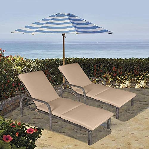 MAGIC UNION Patio Rattan Adjustable Wicker Chaise Lounge with Cushions Garden Furniture Outdoor Pool Side Chair Sets of 2
