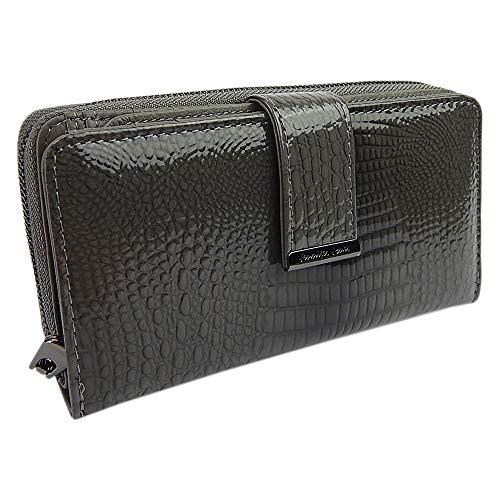 Elegante stilvolle Damen Geldbörse Portemonnaie aus hochwertigem Echtleder Lack Kroko-Loock im Querformat (Grau)