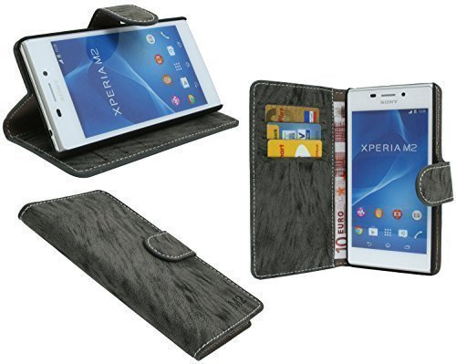 ENERGMiX Buchtasche kompatibel mit Sony Xperia M2 Hülle Case Tasche Wallet BookStyle mit STANDFUNKTION Anthrazit