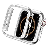 Yolovie Compatible for Apple Watch Case 40mm, Series 5 Series 4 iWatch Bling Face Cover Crystal Diamonds Shiny Rhinestone Bumper, PC Protective Frame for Women Girl (Silver-Diamond, 40mm)