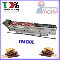 Mistermoby Stainless Steel Barbecue for Grilling Skewers Meat on a Stick Kebab Meat Bread Fish Lenght 80 Cm The Original