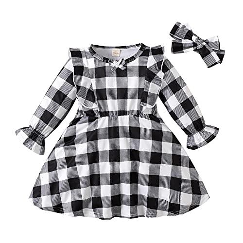 Baby Girls Plaid Dress Fashion Infant Newborn Long Sleeve Plaid Printed Ruffles Princess Dress+Headbands Beautiful Dress White