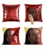 Con Air Nicolas Cage P118 Sequin Pillow, Sequin Pillowcase, Funny Pillow, Two color pillow, Present Pillow, Gift for her, Gift for him, Magic Pillow, Mermaid Pillow [With Insert]