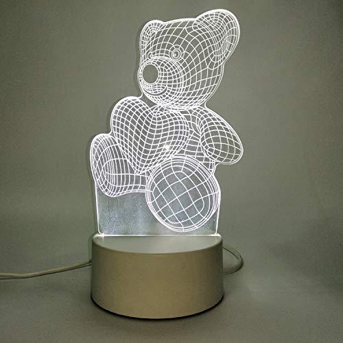 Luz de Noche 3D Interruptor enchufable USB Dormitorio Junto a la Cama lámpara de Mesa pequeña decoración de Dormitorio Creativo Abrazo Oso de Peluche línea de Tiempo de Datos USB Control Remoto
