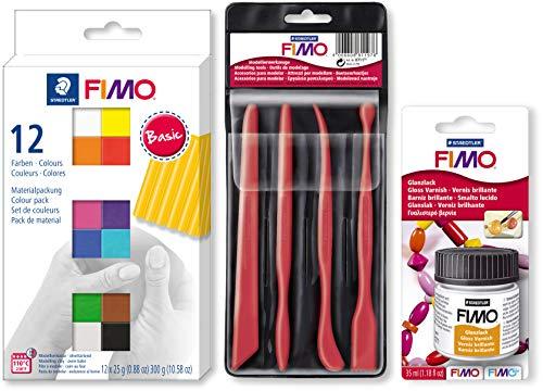 Staedtler FIMO SOFT Colour Pack 12x25g 12 Farben + Werkzeuge Set + Glanzlack zum konservieren und verschönern (Starter Set)