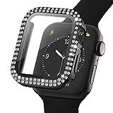 Adepoy Glitzer Gehäuse für Apple Watch 38mm Serie 3/2/1 mit Hartglas Bildschirmschutz, Doppelter Diamant Strassstein, Voller Superdünner Puffer Schutzhülle für iWatch Frauen Mädchen (Schwarz)