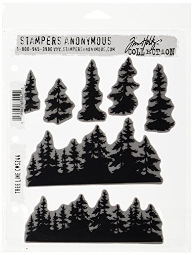 Stampers Anonymous Tim Holtz Cling Rubber Stamp Set, 7' by 8.5', Tree Line