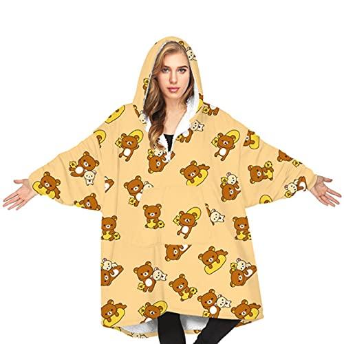 yunge Sudaderas con Capucha de Manta cálida de Dibujos Animados de Gran tamaño Perro Oso Abeja Jersey con Capucha Pijamas Sueltos Casuales para Adultos Otoño Invierno Abrigo de Pareja