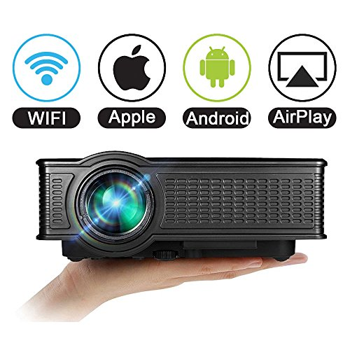Projector WiFi 1080P for iPhone Android, VPRAWLS 1500 Lumens LED Full HD Wireless Portable Mini Movie Projector Multimedia Projector HDMI VGA SD USB AV with Built-in Speaker For Home Theater Cinema