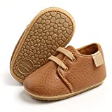 RVROVIC Baby Boys Girls Sneakers Anti-Slip Oxford Loafer Flats Infant Toddler PU Leather Soft Sole Baby Shoes(6-12 Months Infant,1-Brown)