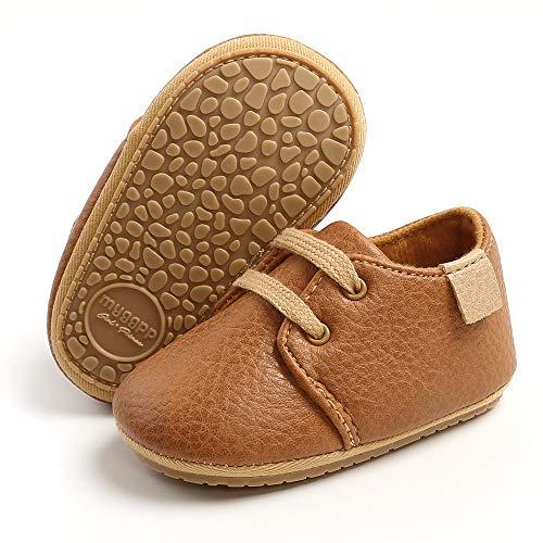 RVROVIC Baby Jungen Mädchen Sneaker Anti-Rutsch Oxford Loafer Flats Säugling Kleinkind PU Leder Weiche Sohle Baby Schuhe, Braun - 1 braun - Größe: 12-18 Monate