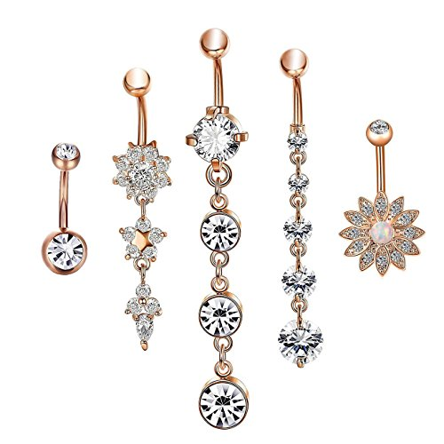 CrazyPiercing Dangle Belly Button Rings Surgical Stainless Steel for Women Girls 5 PCS Set (Rose Gold)