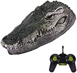 Remote Control Electric Racing Boat,RC Crocodile Head, 2.4G V005 RC Boat with Simulation Crocodile Head Spoof Toy, Fake Alligator Head Decoy for Pool, Pond, Garden (Green)