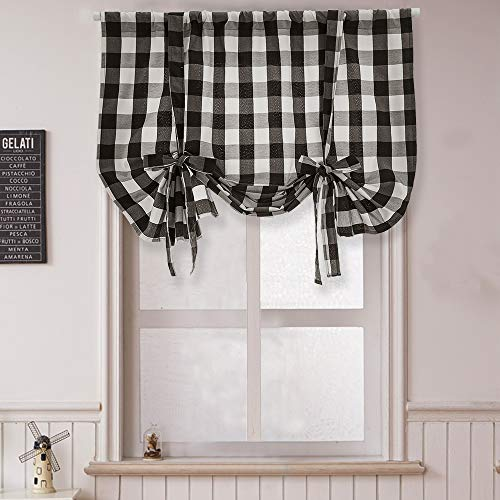 """Roman Buffalo Check Plaid Gingham Linen Window Tie Up, Yarn Dyed, Rod Pocket Design Décor Curtains, Classic Country Farmhouse, Semi-Sheer Adjustable Tier Up Shades for Kitchen, Bathroom,45""""x63""""1pc"""