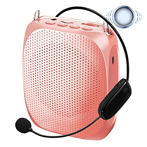 KYLINDRE Voice Amplifier Wireless, Portable Rechargeable 10W Mini Loudspeaker with High Fidelity Headset Microphone for Teacher, Coach Training, Custumes, Promoters and More,RoseGolden