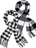 2 Pieces Plaid Check Warm Women Blanket Scarf Cozy Plaid Winter Scarf Wrap Shawl (Black White)