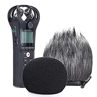 YOUSHARES Zoom H1n Recorder Foam & Furry Indoor/Outdoor Windscreen Muff, Pop Filter/Wind Cover Shield Fits Zoom H1n & H1 Handy Portable Digital Recorder