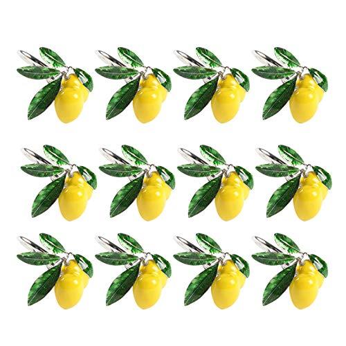 Camisin 12Pcs Hotel Table Decoration Lemon Napkin Buckle Fruit Napkin Paper Towel -Silver
