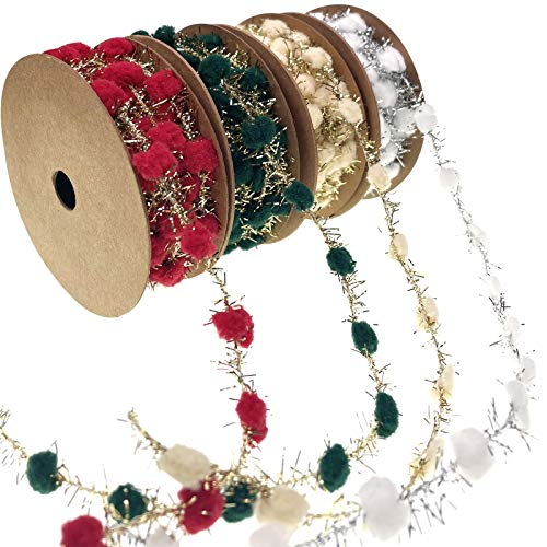 Llxieym Christmas Ribbon Pom Poms with Iron Wire (12, red, Green, Beige, White)