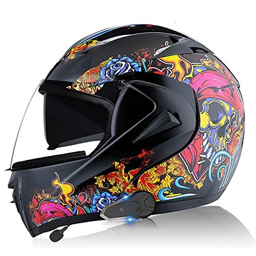 Casco de motocicleta Bluetooth integrado, certificación DOT/ECE, intercomunicador 1000M, música FM, marcación final, sistema de comunicación, casco Bluetoothwang 8,XS=53-54CM