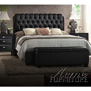 Ireland Black PU Queen Size Bed by Acme Furniture