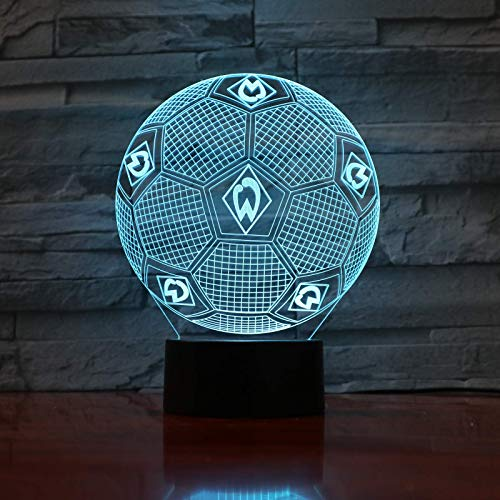Fc Werder Bremen 3D Illusion LED Nachtlicht Jungen Kinder Baby Geschenke Fußball Bundesliga Fußballmannschaft Tischlampe Nachttischdekoration