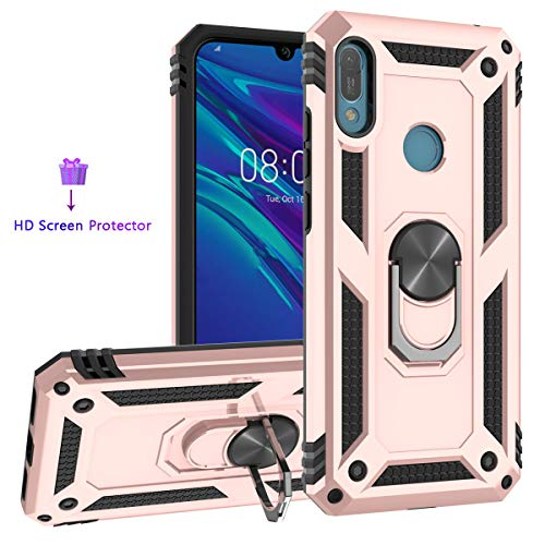 ZingCon Compatible for Huawei Y6 2019 Phone Case,Y6 Prime 2019 Case,[HD Screen Protector] Heavy Duty Shockproof Protective Cover with 360 Rotating Ring Kickstand fit Magnetic Car Mount-Rose Gold