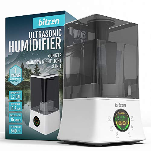BITZEN Cool Mist Humidifier – Essential Oils Diffuser – Superior Ultrasonic Humidifier – Best for Large Bedroom, Office, Gym, Home, Baby - Whisper-Quiet Operation, Auto Shut-Off, 4.5 L