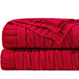 NTBAY Cotton Cable Knit Throw, Super Soft Warm Multi Color Blanket, 51 x 67 Inches, Red