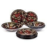 Tafelservice Geschirr-Set aus Glas für 6 Personen, 19-teilig, Russland Motive, Chochloma-Malerei-Muster, 6x Suppenteller, 6x Dessertteller, 1x Salatschüssel (Vogelbeerbaum)
