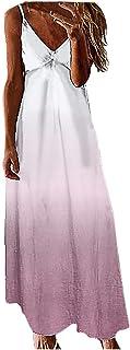 X-Future Women Spaghetti Strap Gradient Color Stylish Casual Maxi Dress