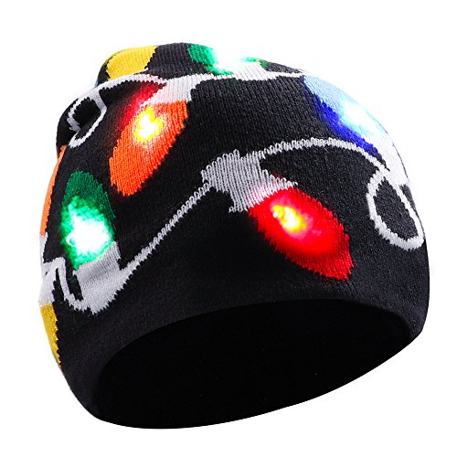 Light up Hat Beanie LED Christmas Hat for Adults Women Men Kids Girls Boys Novelty Funny Hat Gifts (Black)