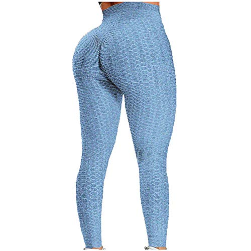 Pantalones de Yoga Súper Elásticos Cintura Alta Leggings Deportivos para Mujer Mallas de Yoga Transpirables Pantalón de Deporte Push Up Leggins Ideal para Running Training Fitness