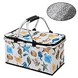 YXW Cesta de Picnic Plegable portátil de Aluminio para Almuerzo, con asa, para Transporte de Comida y Bebida (patrón de océano) 44 × 24 × 38 cm