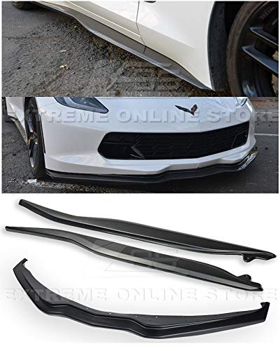 Replacement for 2014-2019 Chevrolet Corvette C7 All Models | Z06 Stage 2 ABS Plastic Primer Black Front Bumper Lower Lip Splitter with Side Skirt Rocker Panels Extension Pair