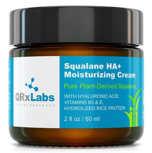 Pure Plant-Based Squalane HA+ Moisturizing Cream with Hyaluronic Acid – Organic ECOCERT Approved USDA Certified Squalane Derived from Sugarcane – Best Moisturizer For Face, Body & Skin - 2 fl   60 ml