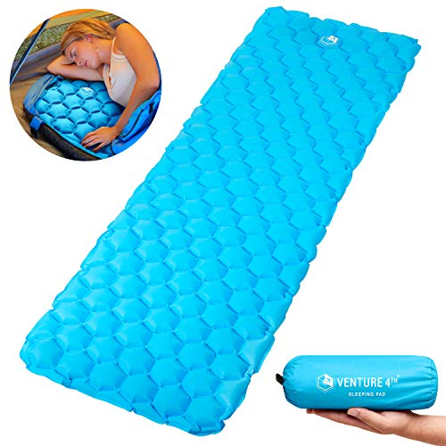 VENTURE 4TH Ultralight Air Sleeping Pad - Lightweight, Compact, Durable  Air Cell Technology for Added Stability and Comfort While Backpacking, Camping, and Traveling (Light Blue)