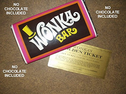 Tavoletta di cioccolato Willy Wonka finta, con biglietto dorato, cioccolato non incluso