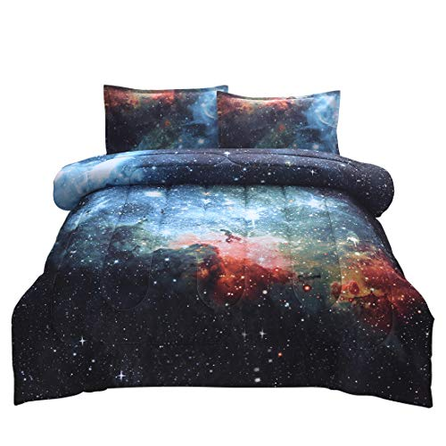 JQinHome Full 3-Piece Galaxies Blue Comforter Sets - 3D Outer Space Themed - All-Season Down Alternative Quilted Duvet - Reversible Design - Includes 1 Comforter, 2 Pillow Shams