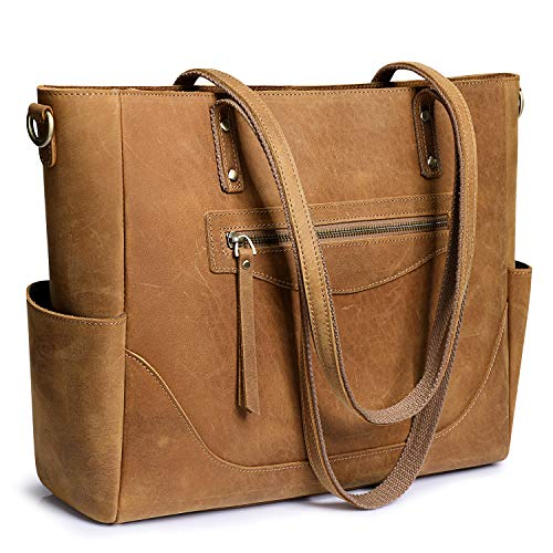 S-ZONE Women Vintage Genuine Leather Tote Bag Large Shoulder Purse Work Handbag with Crossbody Strap
