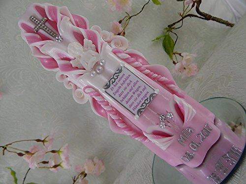 Geschnitzte Taufkerze Kommunionkerze rosa weiß für Mädchen mit Engel Spruch Name und Datum