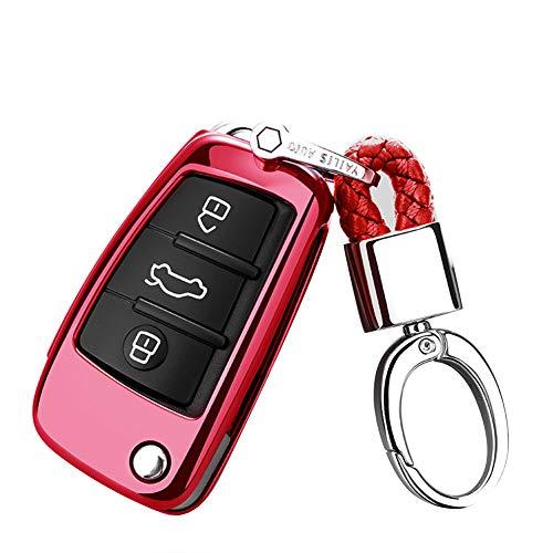 Happyit Caso de la Cubierta de la Llave del Coche de TPU para Audi Sline A3 A5 Q3 Q5 A6 C5 C6 A4 B6 B7 B8 TT 80 S6 con Llavero (Rojo)