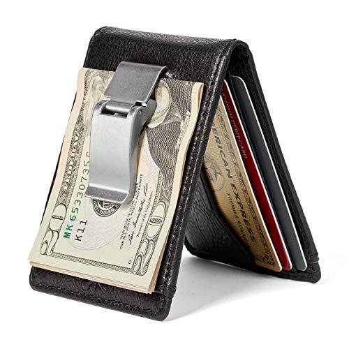 HOJ Co. DEACON ID BIFOLD Front Pocket Wallet-Full Grain Leather-Bifold Money Clip Wallet (Brown Smooth)