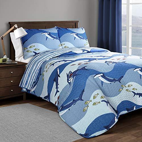 2pc Twin Shark Allover Quilt Blue - Lush Décor
